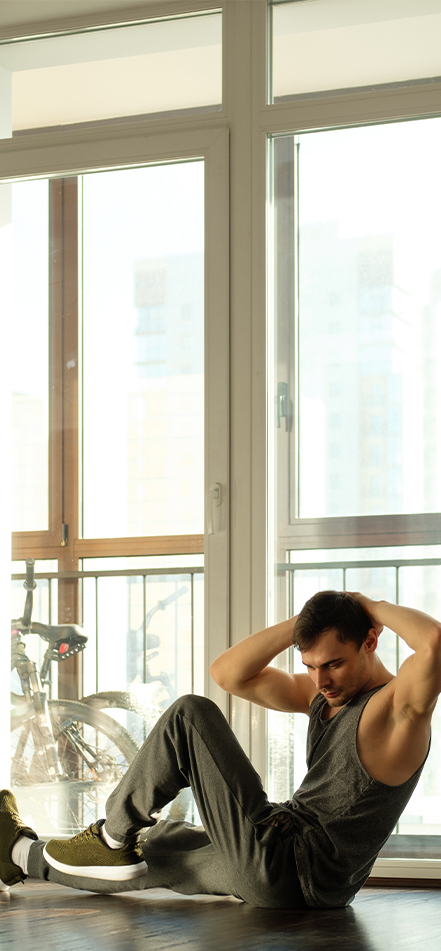 man working out at-home