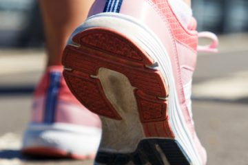 close up of runner's pink sneaker