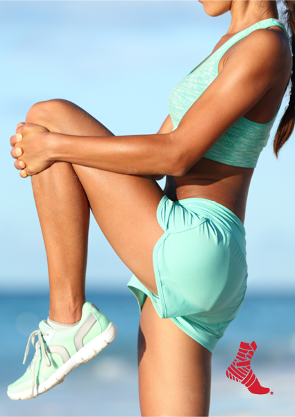 woman stretching her hamstring