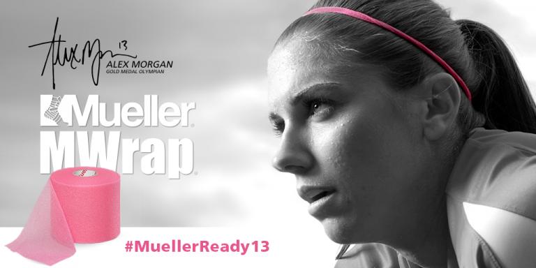US Women's Soccer player Alex Morgan, wearing Mueller M-Wrap as a headband