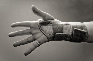 hand with wrist brace
