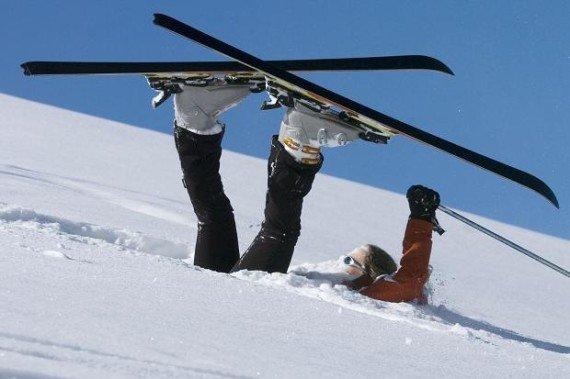 skier on back after falling on the slopes